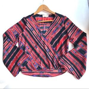 EIGHT SIXTY boho long bell sleeved top-S